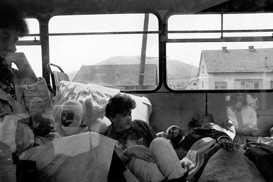 Wounded people on a bus.