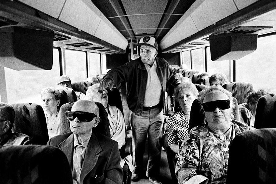 A bus full of senior citizens.