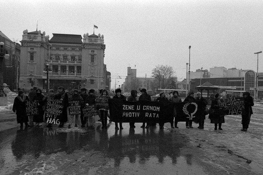 Demonstrators in a city square.