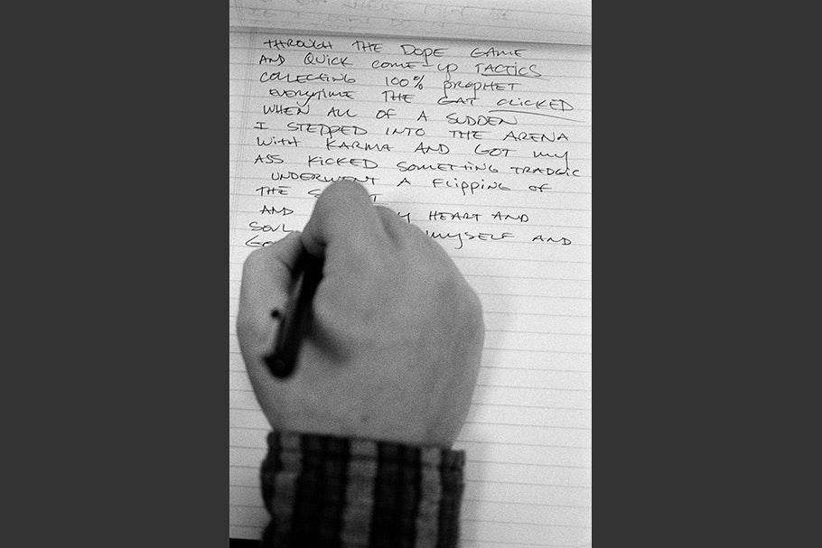 A hand writing.