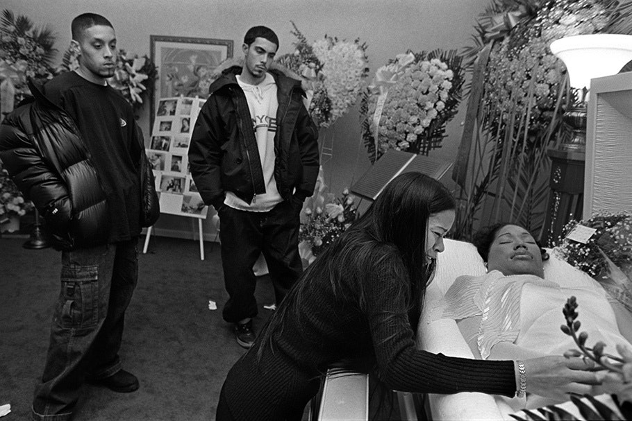 A scene in a funeral parlor.