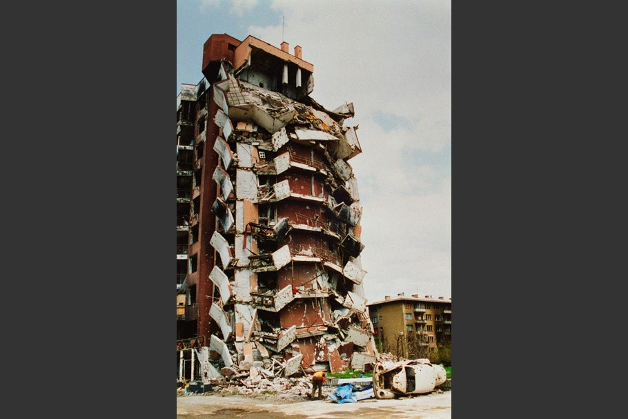 A destroyed apartment building.