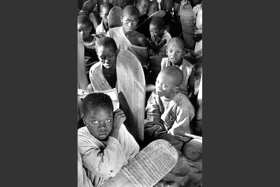 Schoolchildren with tablets.