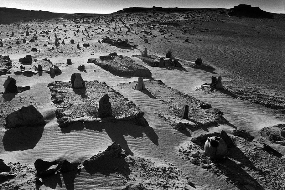 A cemetery in a desert.