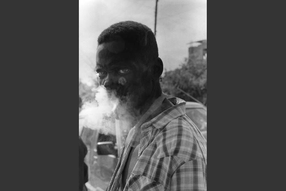 Portrait of a smoking man.