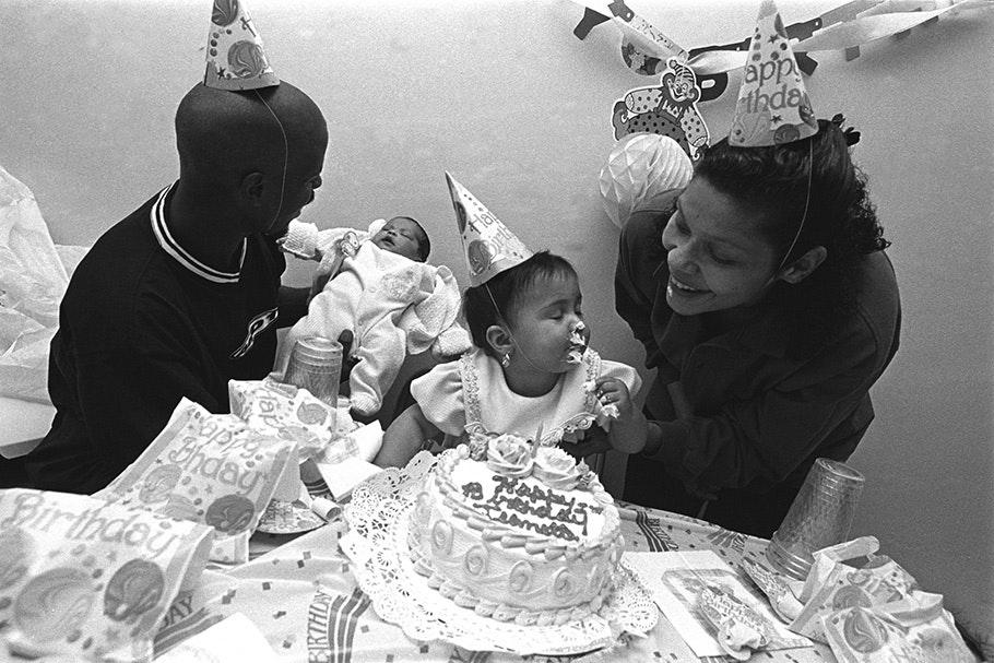 A family celebrating a birthday.