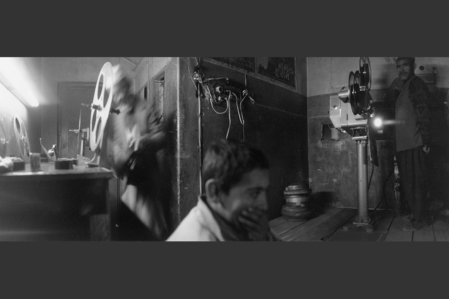 Panorama in a film projection room.