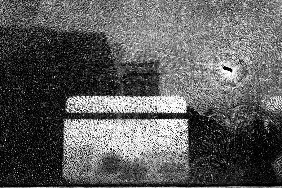 Shattered train windows.