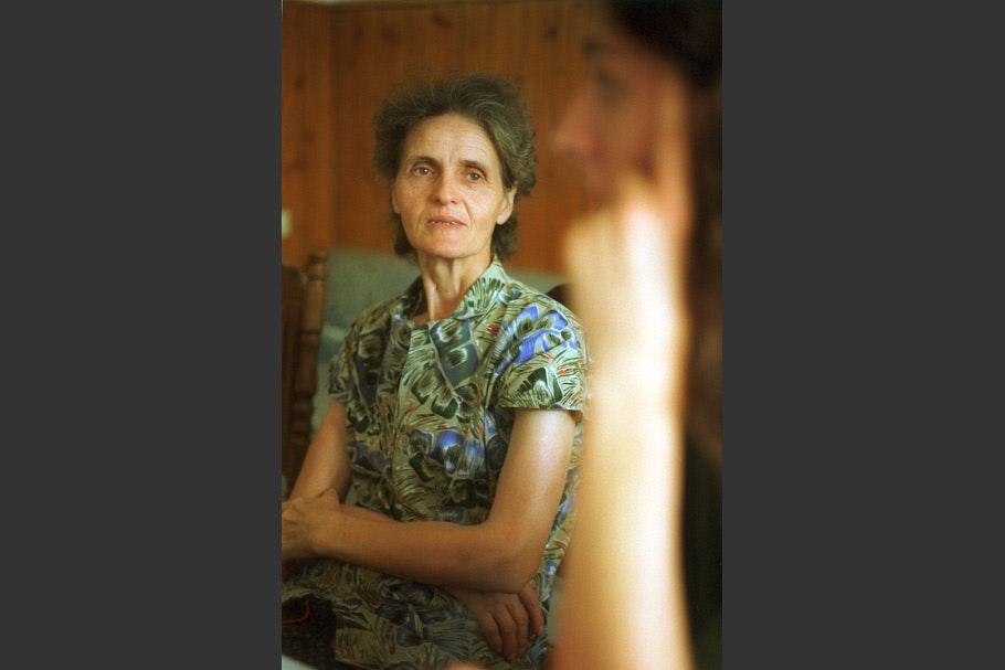 A portrait of an elderly woman.