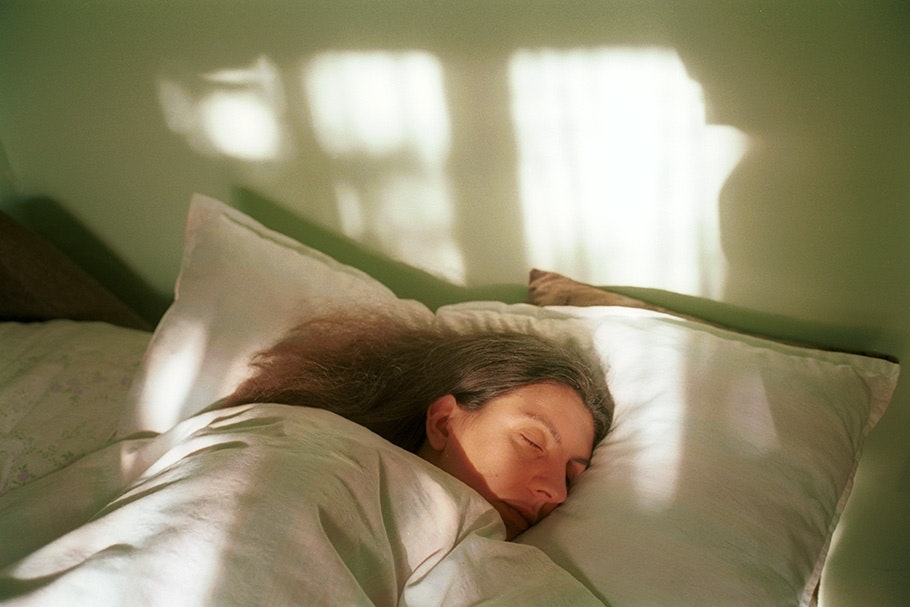 A woman sleeping.