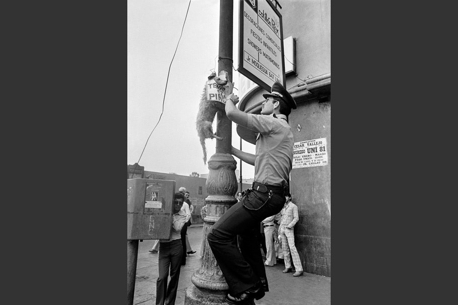 An officer with a hanging dead dog.