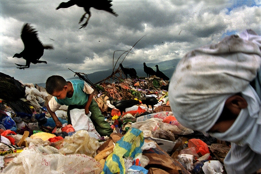 Children and vultures in a dump.