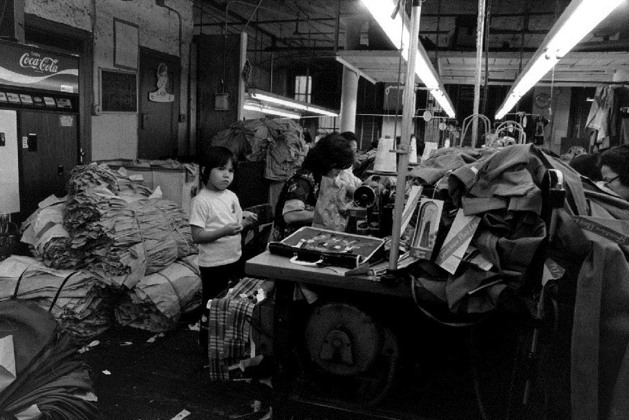 Mother and daughter in a garment factory.
