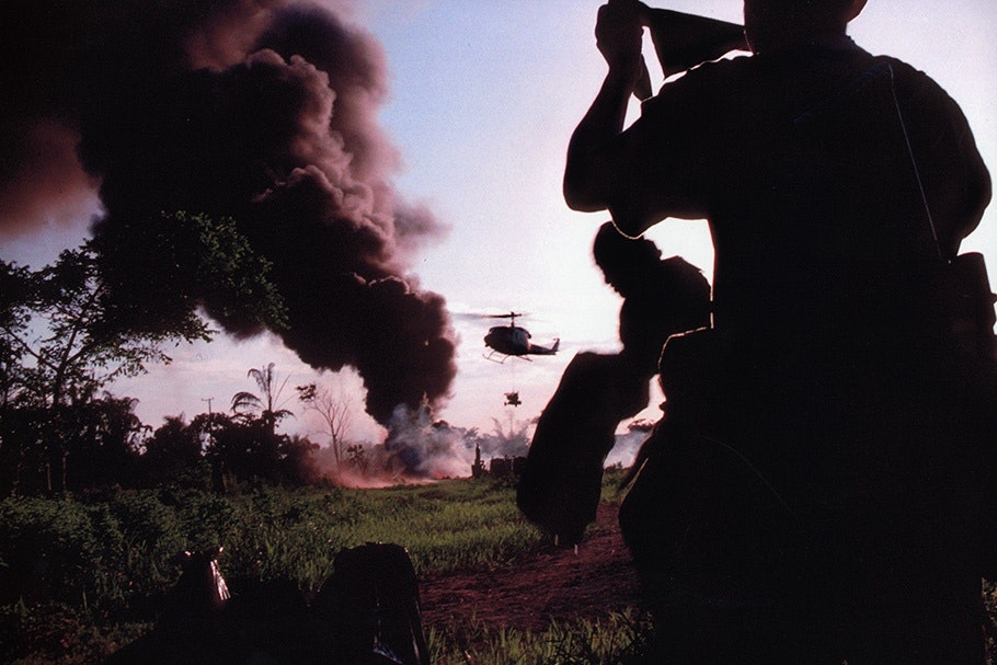 Helicopters and smoke.