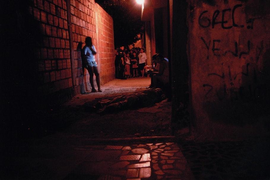 A scene in an alleyway.