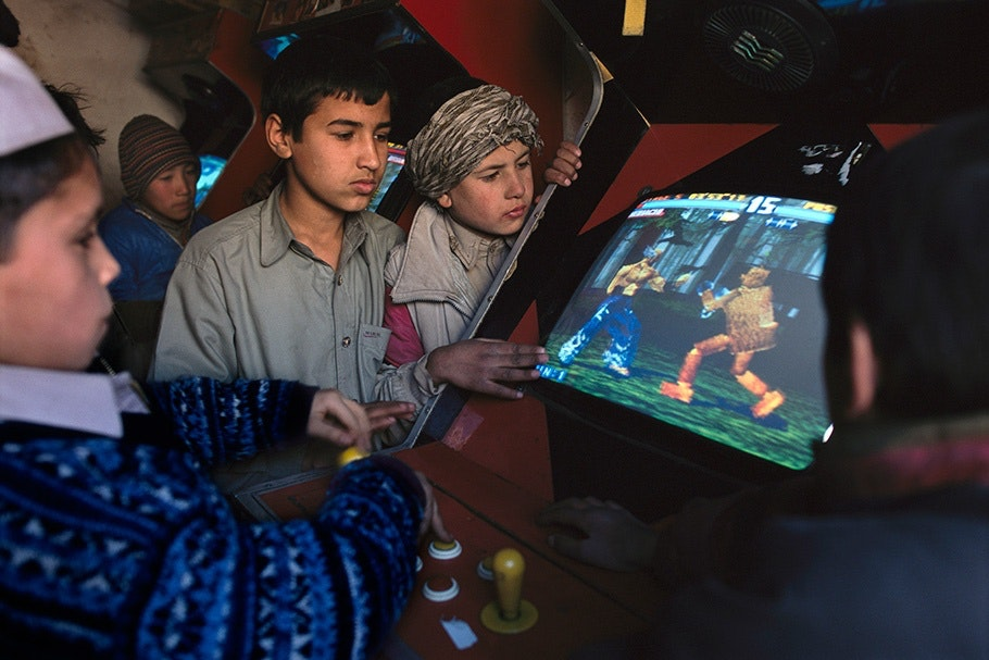 Boys playing a video game.
