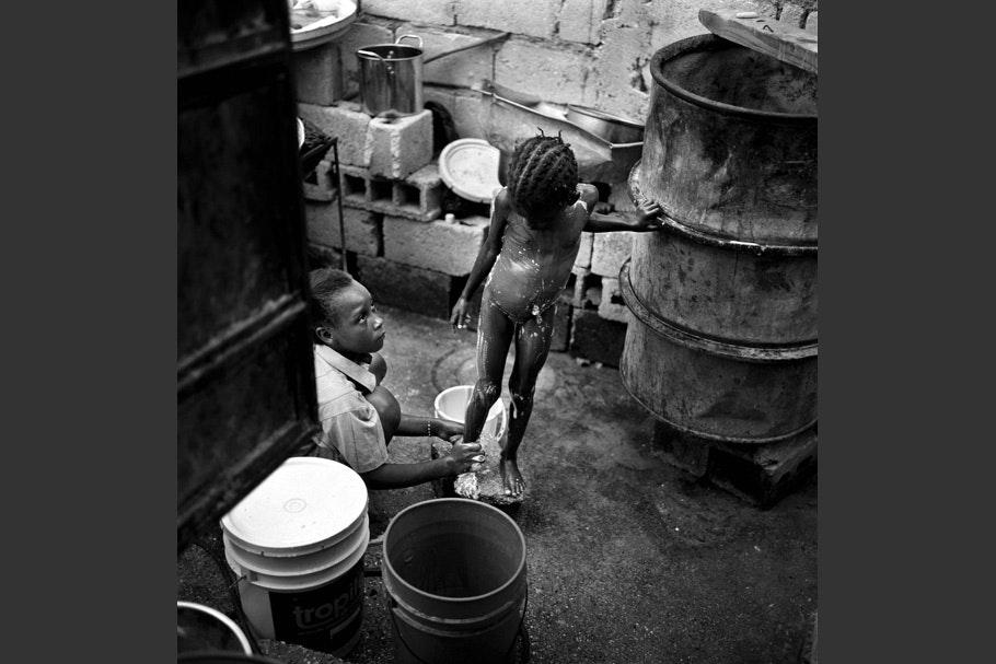 Children bathing.