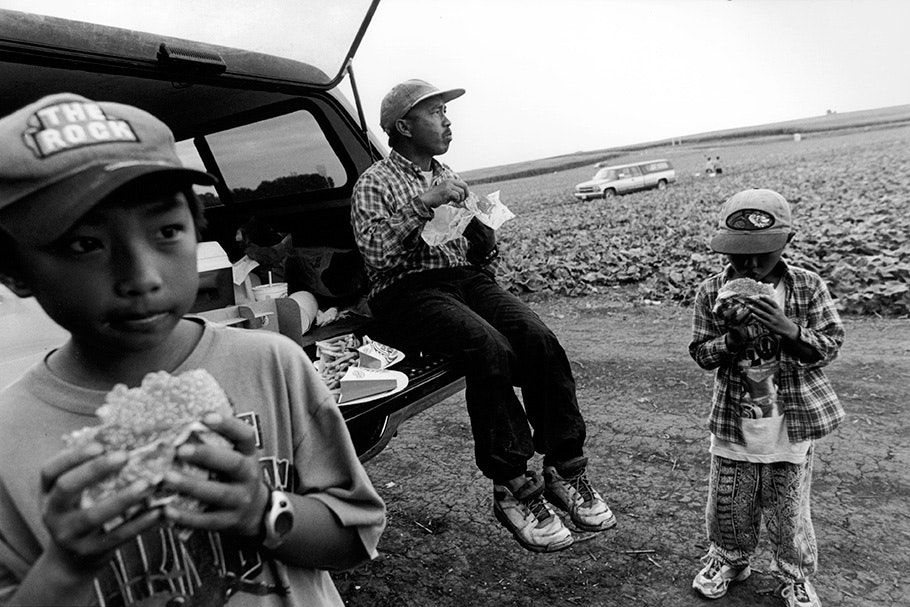 A father and two sons eating in front of a car in a field.