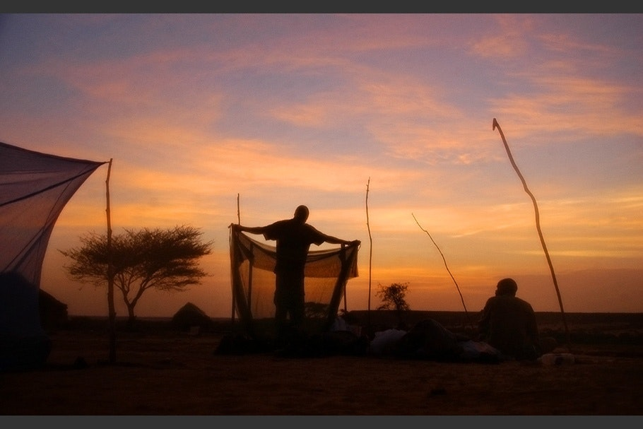 A person folding a mosquito net against an orange sky.
