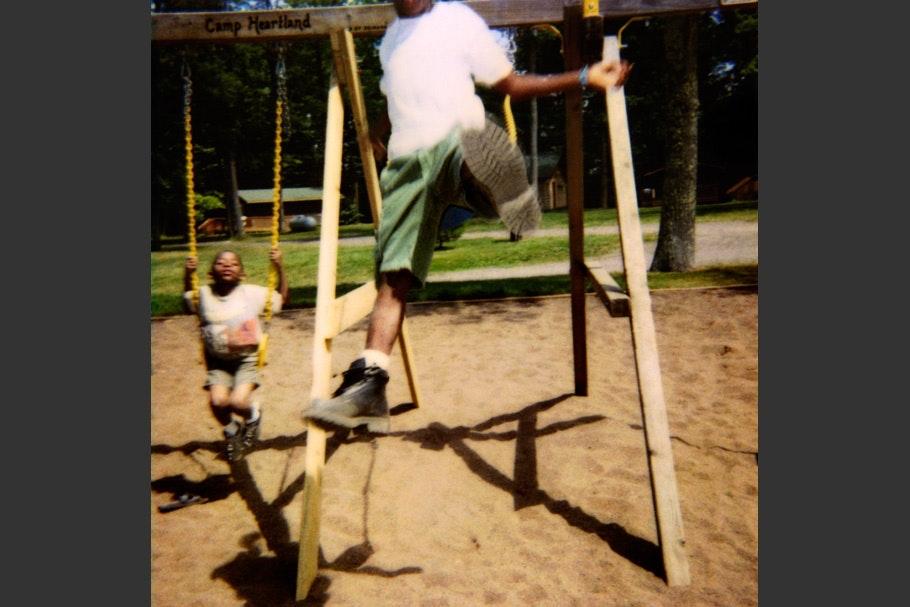 Children on a swing set.