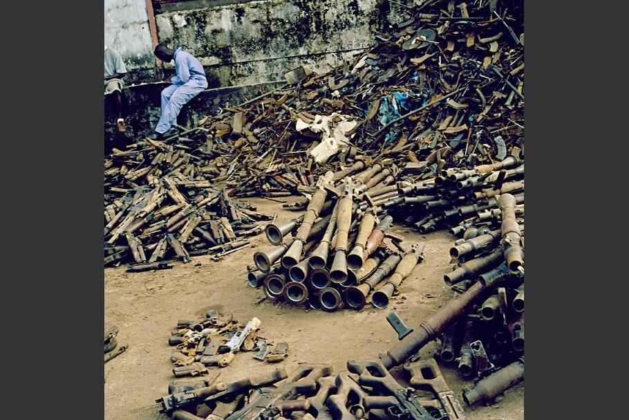 Piles of weaponry.
