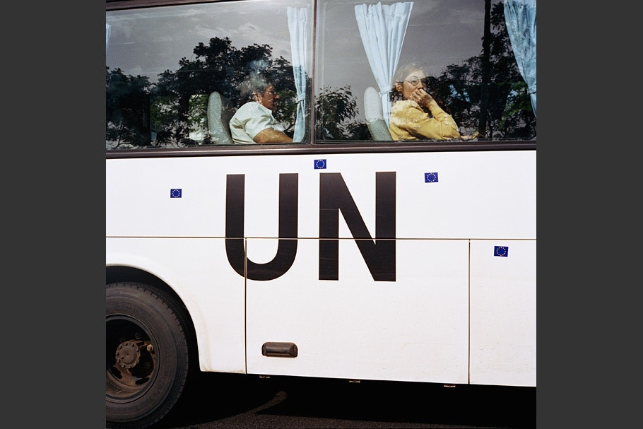 People in a UN bus.