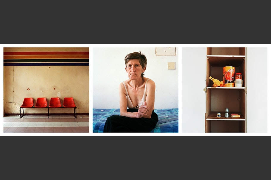 Triptych with chairs, woman, and shelves.