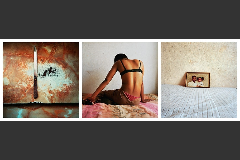 Triptych of a knife, person sitting on a bed, picture on a bed.