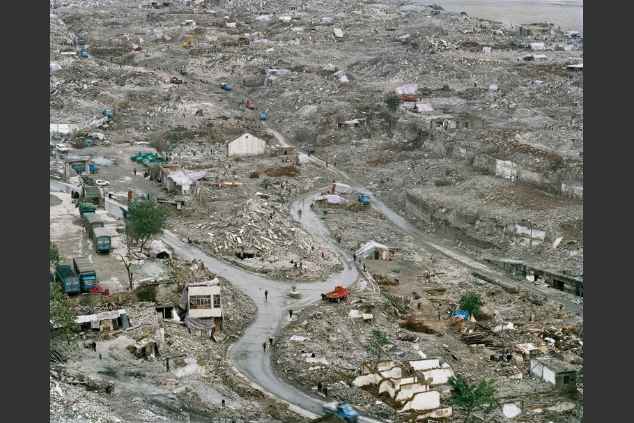 View of demolished town from above.