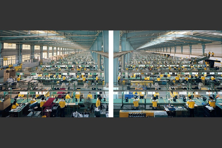 Diptych showing factory floor.