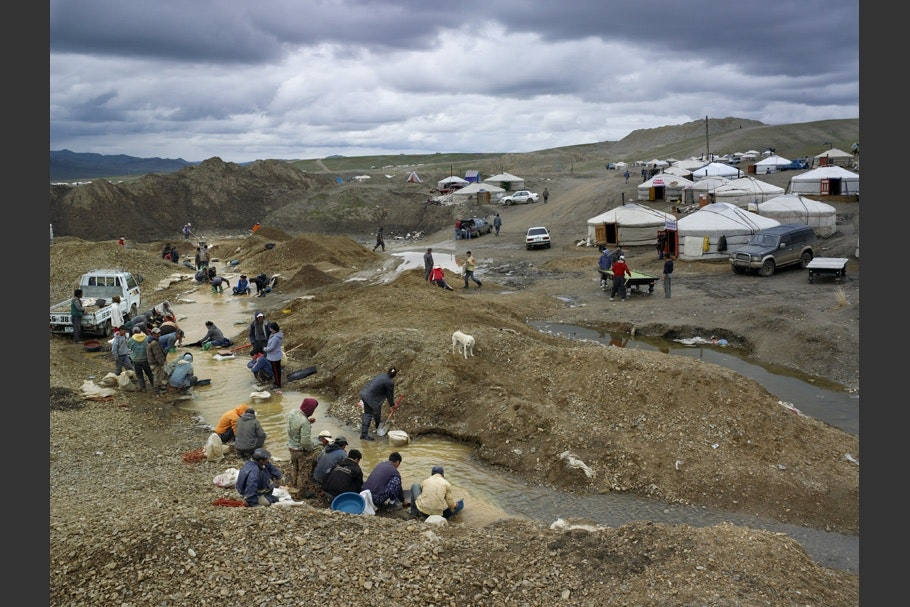 Landscape with tents and residents.