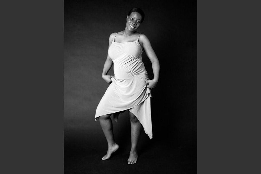 Woman in white dress.