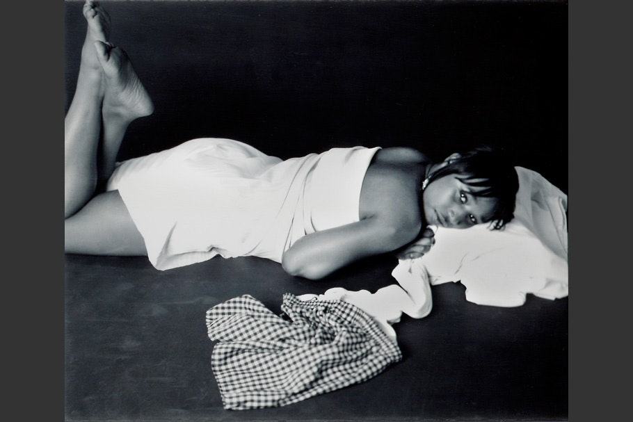 Woman lying down.