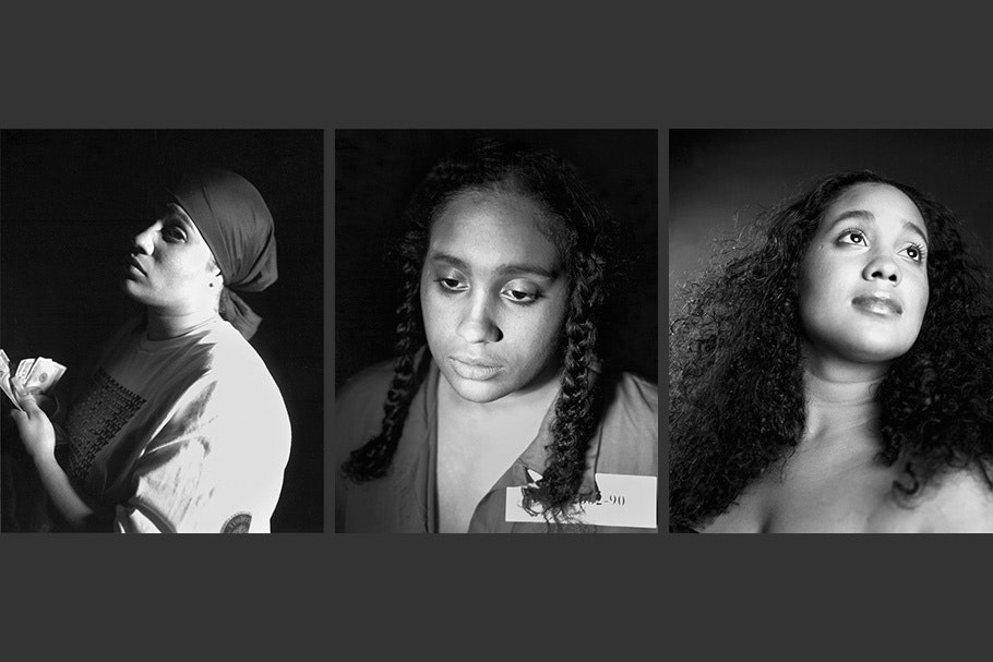 Triptych with three self-portraits: holding cash, hair in braids, hair loose.