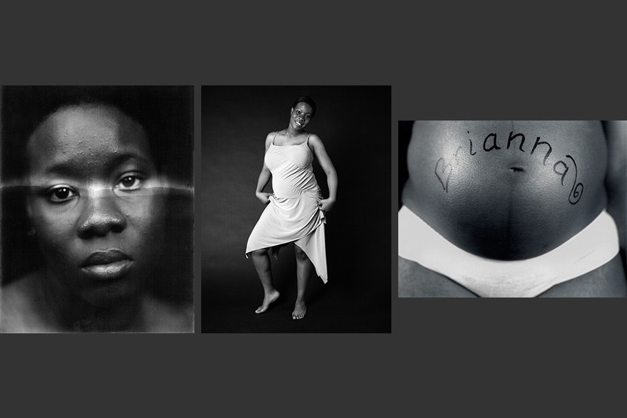 Triptych of self-portraits: face with light across eyes, white dress, and pregnant stomach.