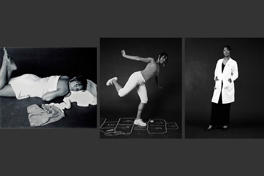 Triptych of self-portraits: lying down, playing hopscotch, in white coat.