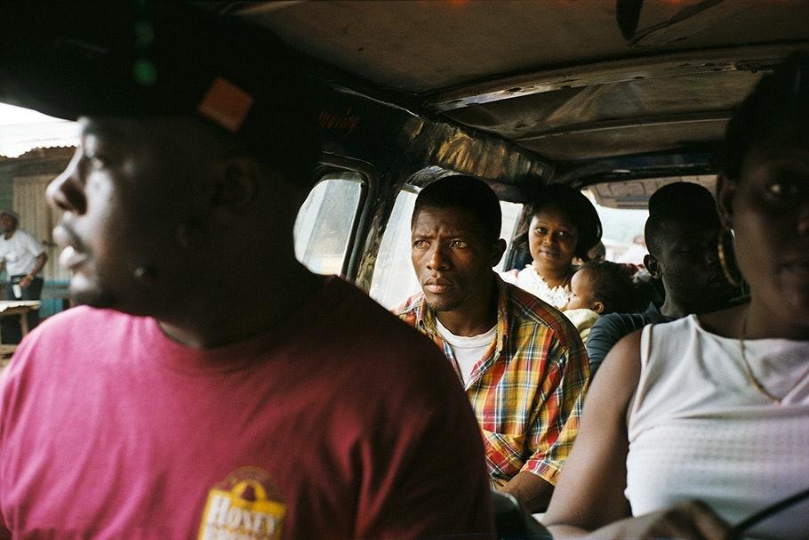 People inside a bus.
