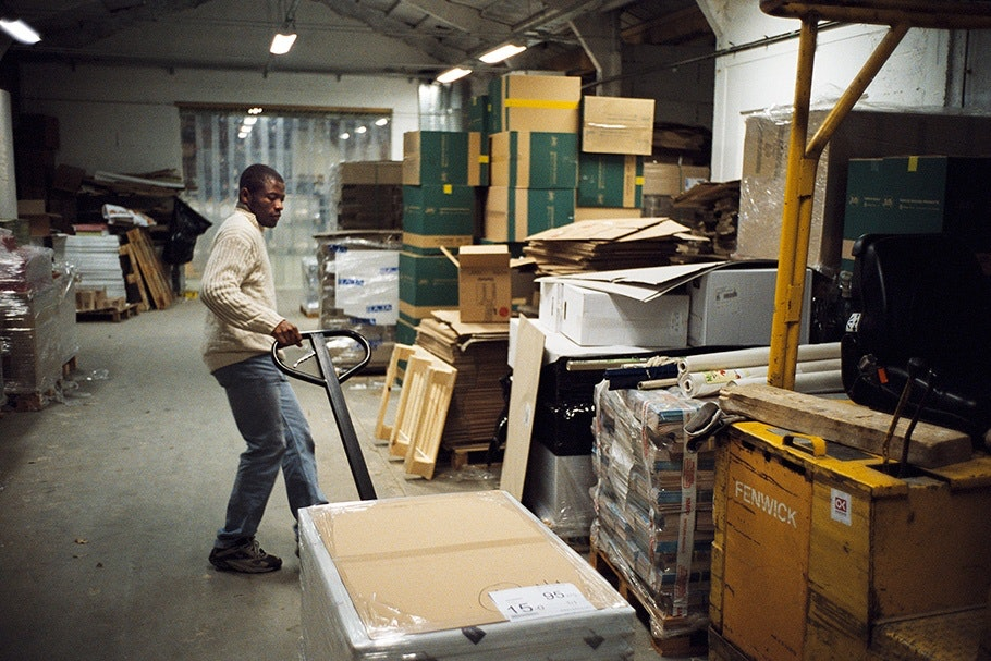 Man at work in a warehouse.