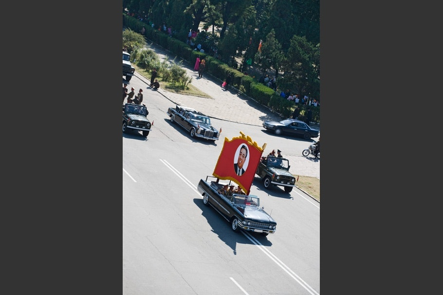 Parade of cars.