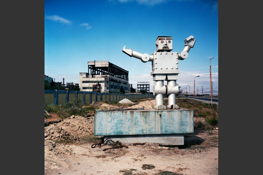 Robot, blue sky.