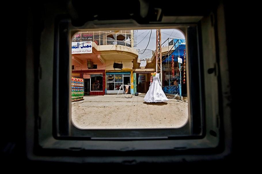 White dress in street.