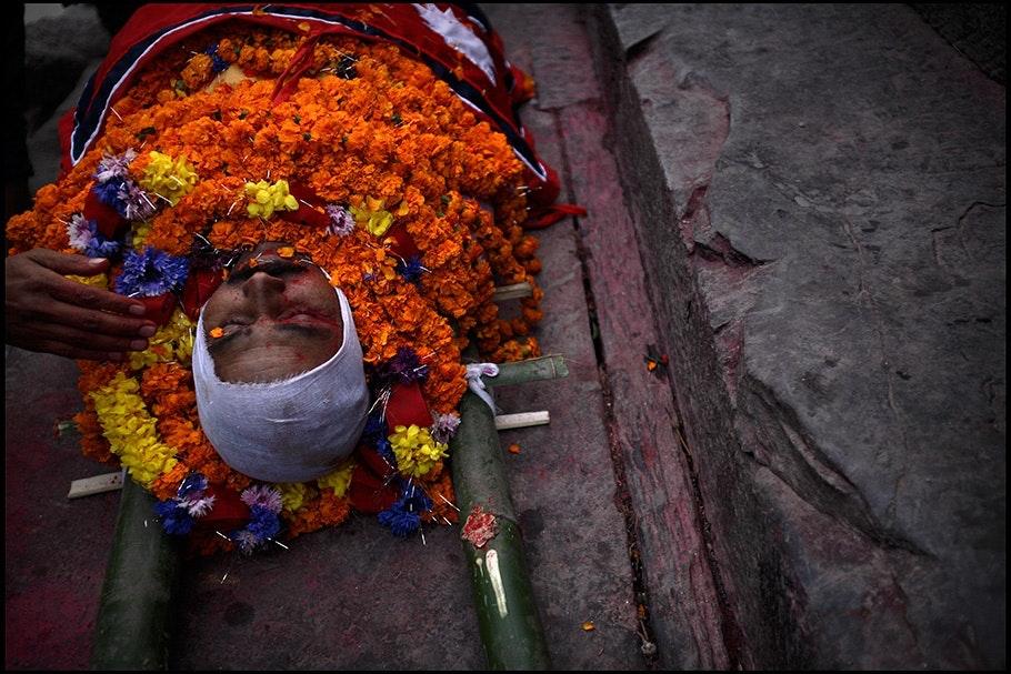 Body with orange flowers.