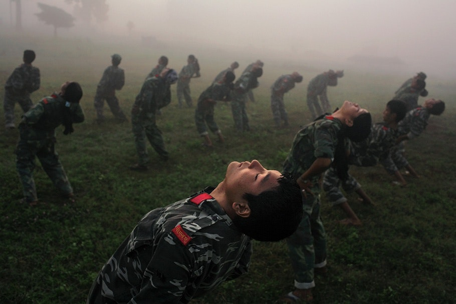 Soldiers training.