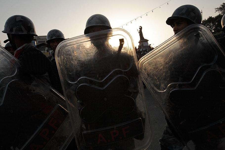 Riot shields.