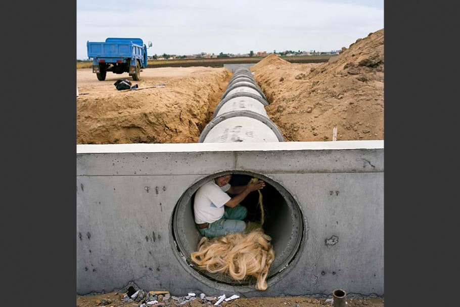 Man in pipe.