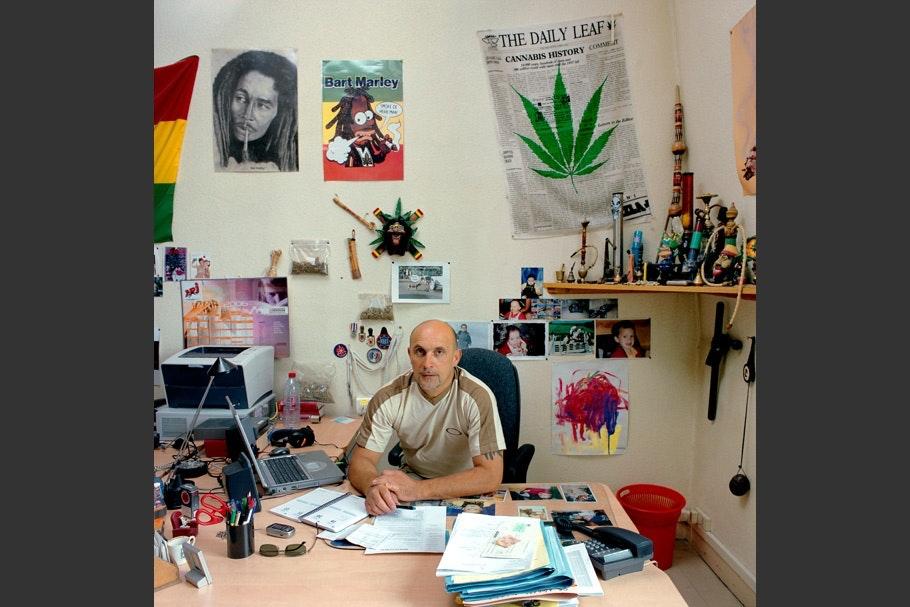 Newspaper with marijuana leaf in background.