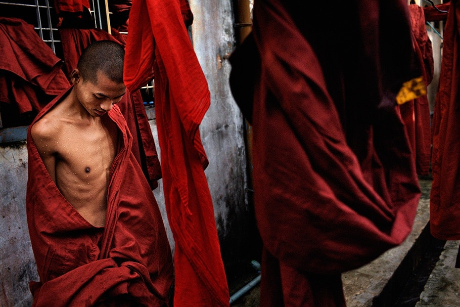 Monks in red robes.