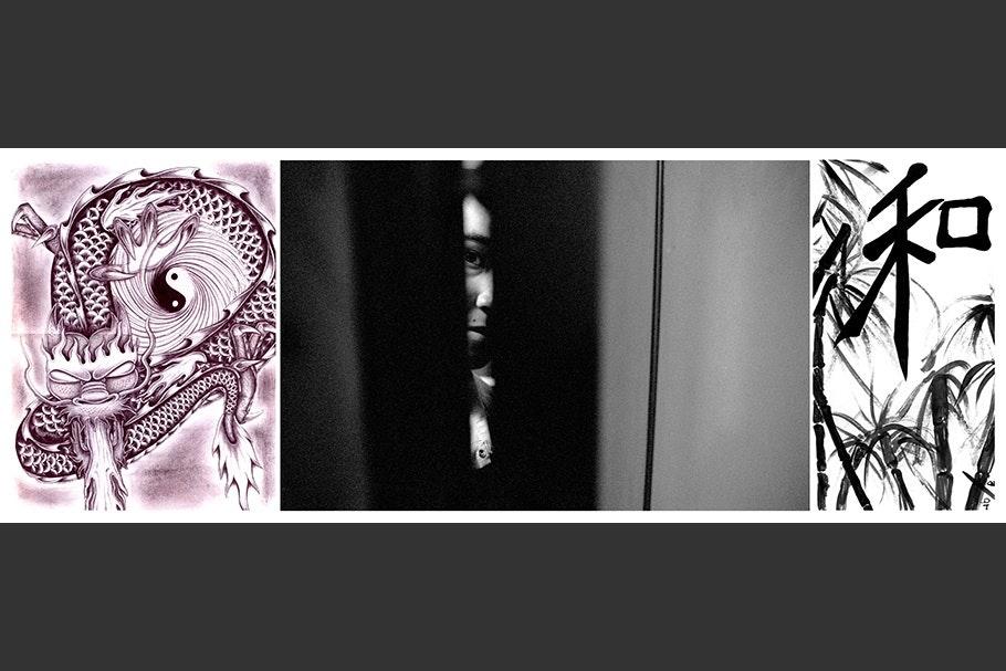 Person viewed through shadows, dragon design.