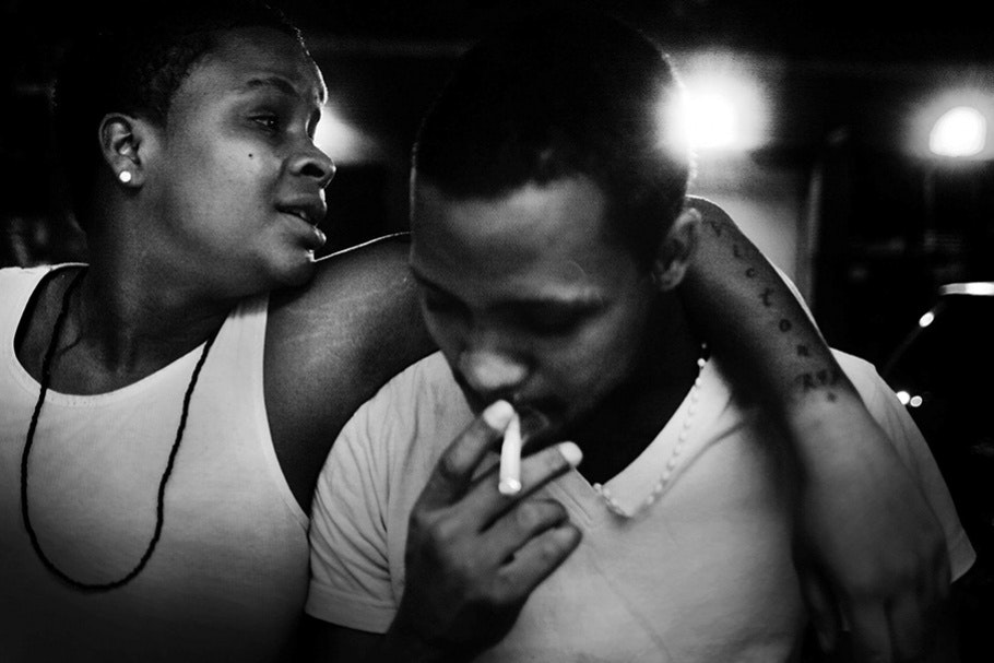 Two teens smoking.