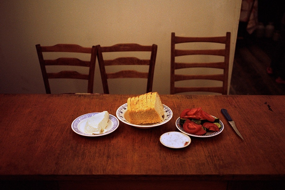 Table with food.